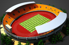 Stadium construction animation – pre-rendered 3D model