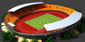 Stadium construction animation – pre-rendered 3D model