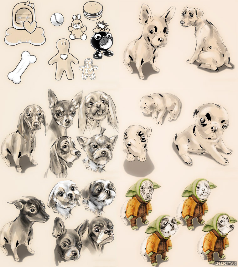 Dogs Fashion match-3 game prototype characters