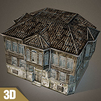 Free 3D Model of Old Wooden Building