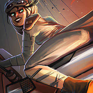 Star Wars Rey and Finn Characters – Force Awakens Fan Art