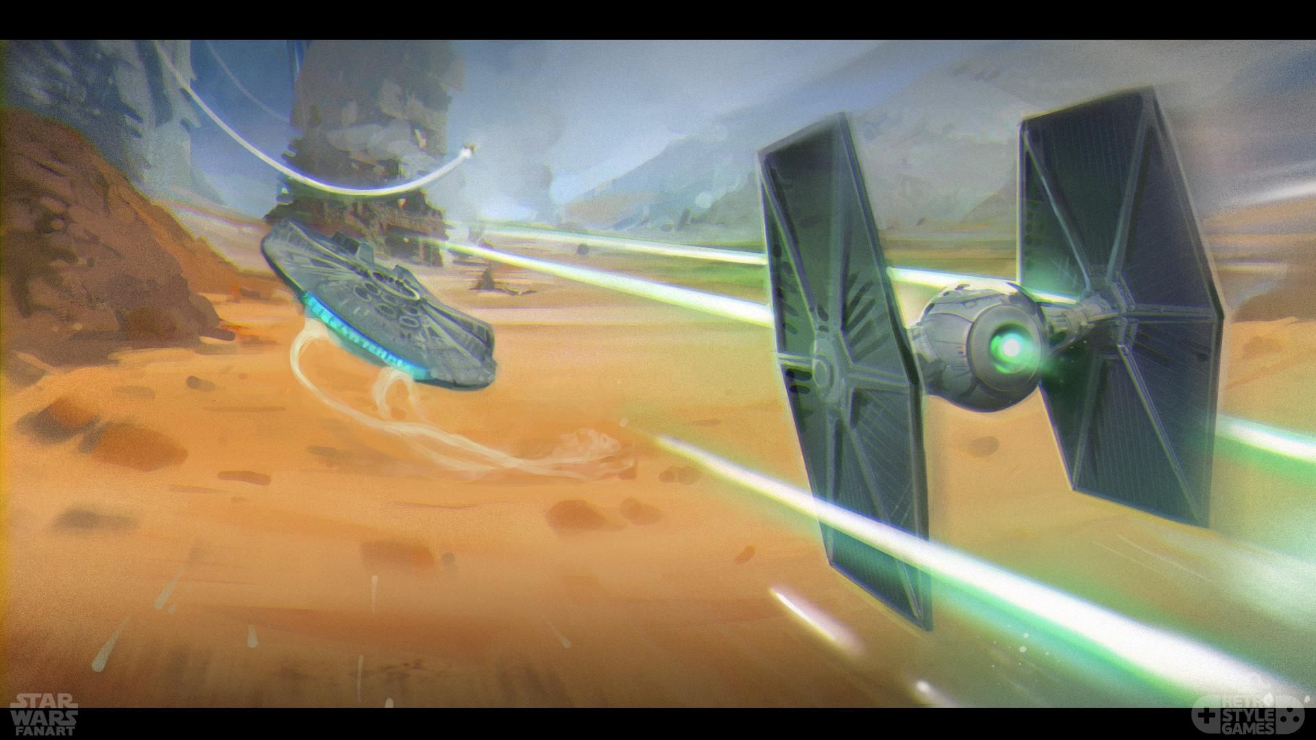 StarWars Millenium Falcon Tie Fighter chase fanart