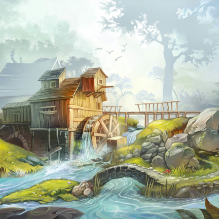 runefall match3 2d background mill forest