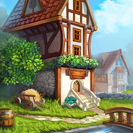 runefall match3 2d background village houses