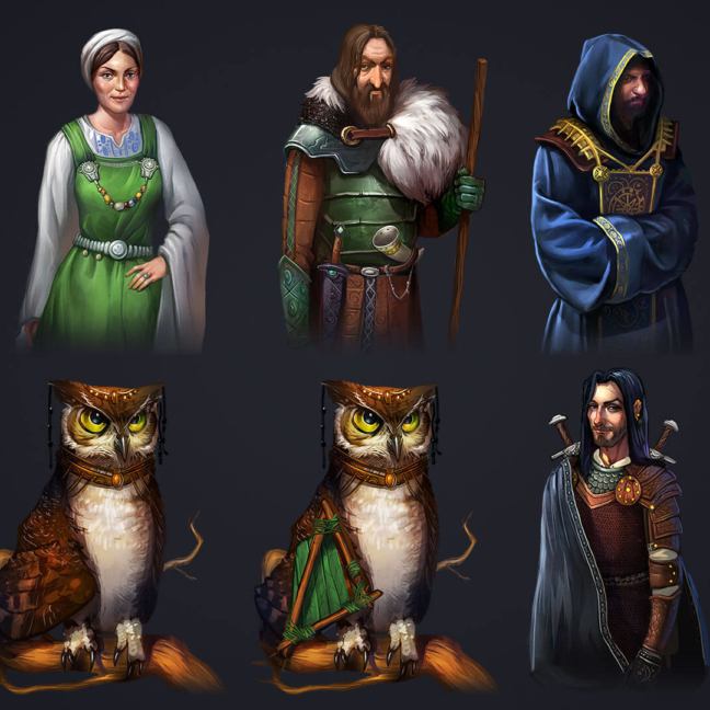 runefall match3 2d characters set people animal