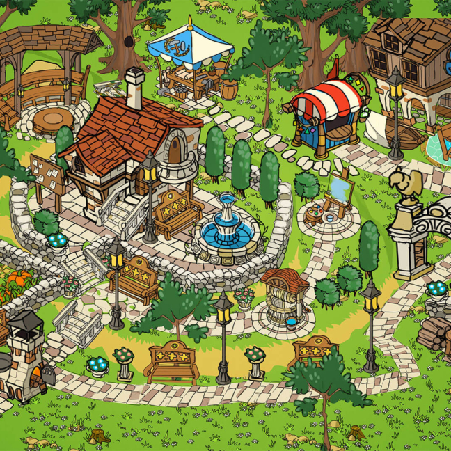 runefall match3 meta 2d sketch village park garden