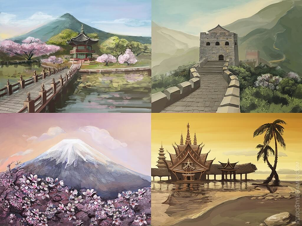 mahjong 2d art backgrounds chinese wall house mountain