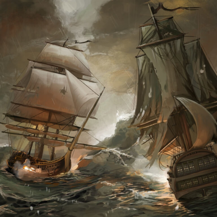 pirates ships storm night