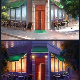 chef solitaire 2d restaurant exterior day night bachgrouns summer