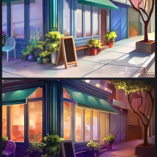 chef solitaire 2d restaurant exterior day night background scale summer