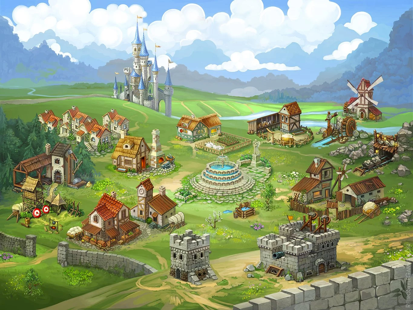 Heroes from the Past 2D Isometric Castle Medieval City Sprites Meta Game