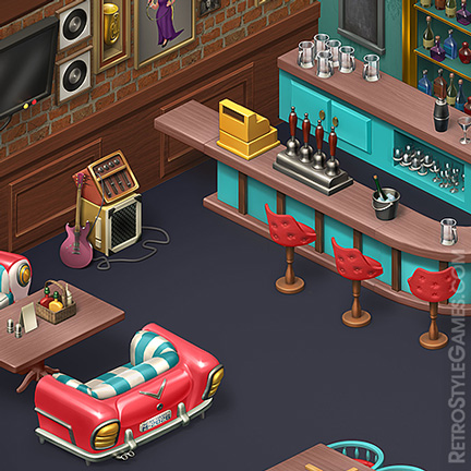 Isometric Game 3D Sprites Bar Interior Slot Machines ISO