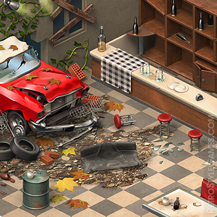 Isometric Game 3D Sprites Cafe Interior Abandoned ISO