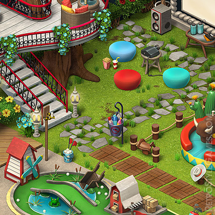 Isometric Terrace Amusement Park 3D Sprites ISO