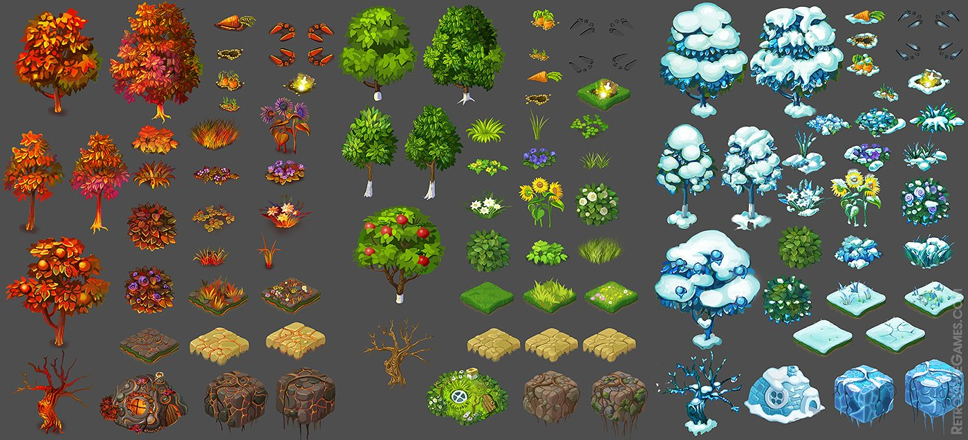 Isometric Tiles 2D Sprites Funny Bunny Game Assets
