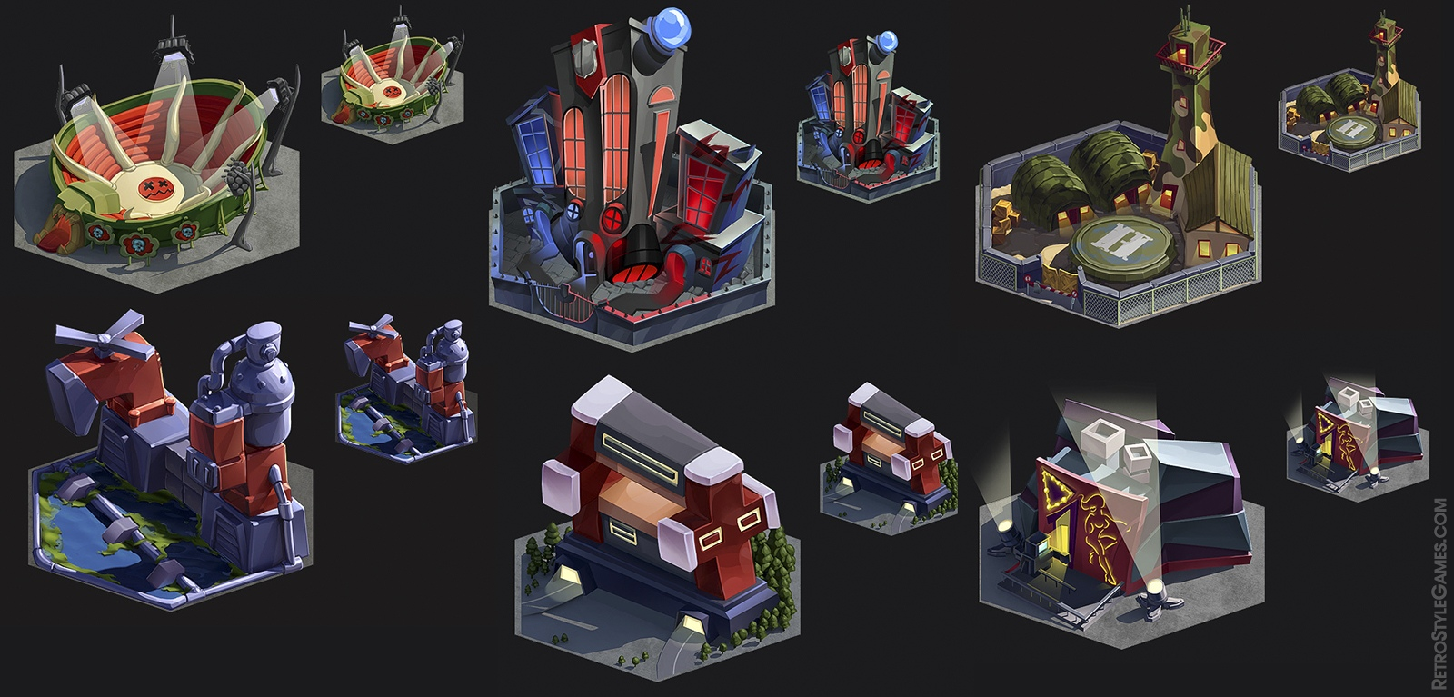 Pre rendered Isometric 3D Sprites Hex City Builder