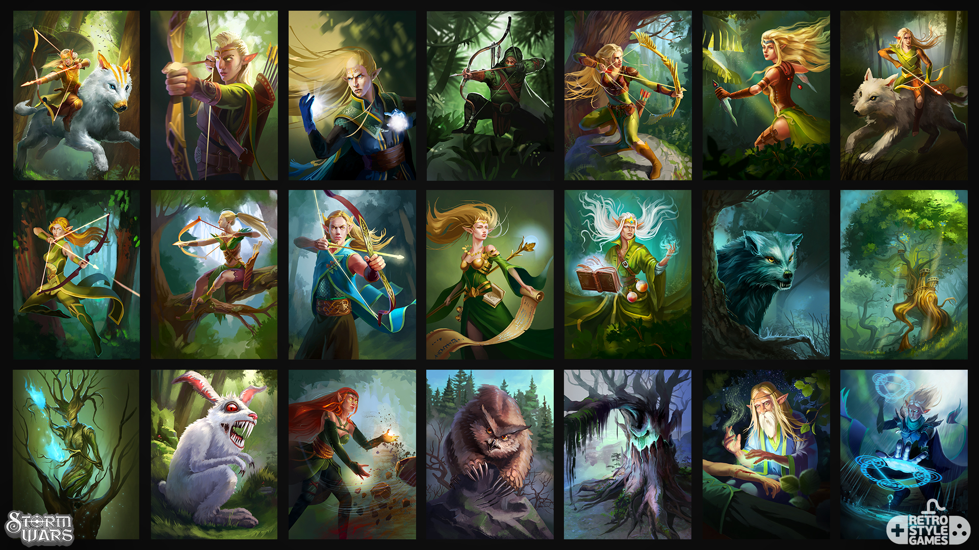 stormwars 2d high elves elf character illustrations set