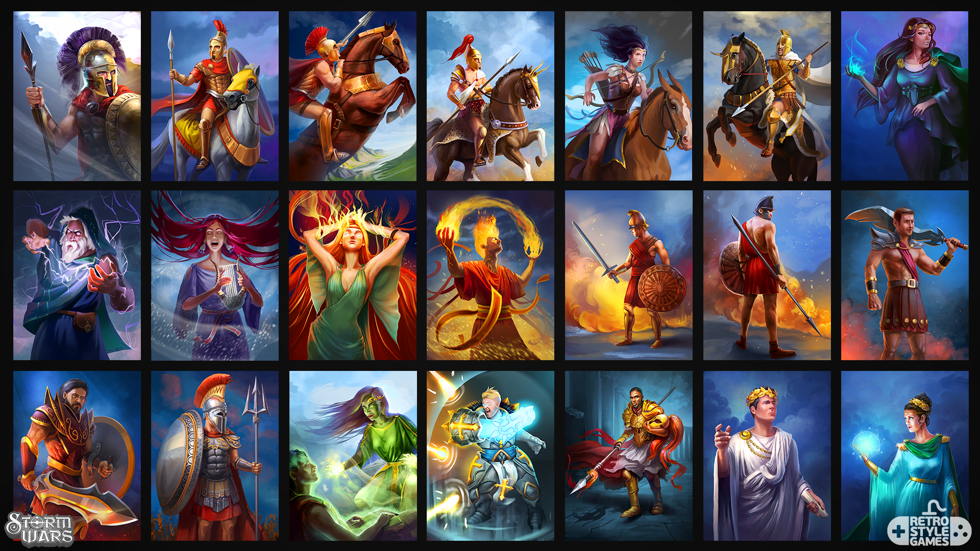 stormwars 2d characters cards atlantean alliance humans