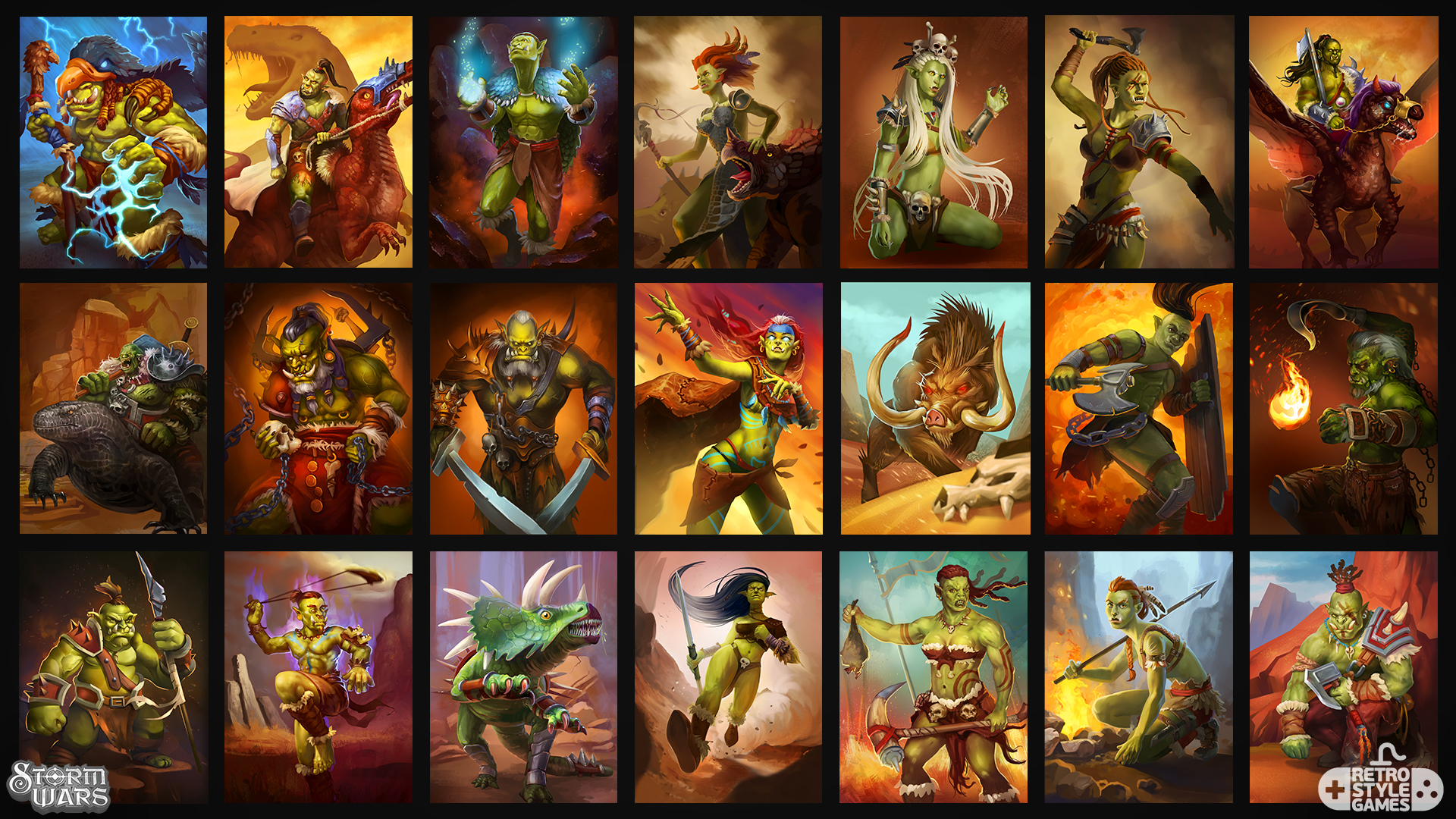 stormwars 2d collectible cards orc greenskins characters set