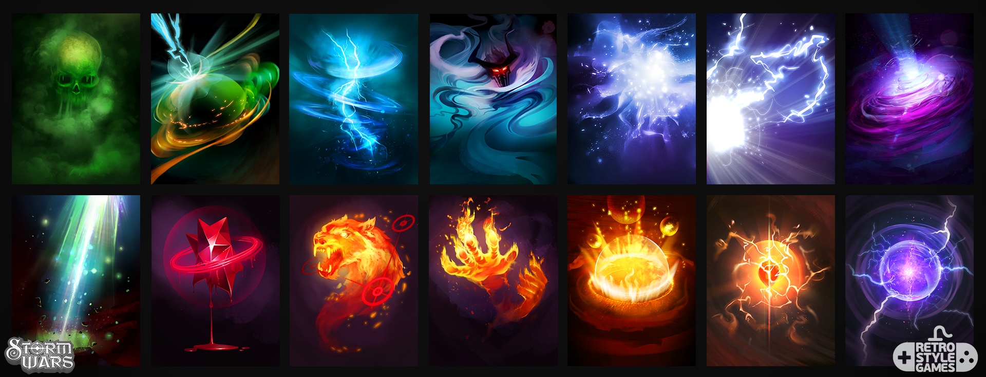 stormwars 2d collectible cards spells magic fx fire