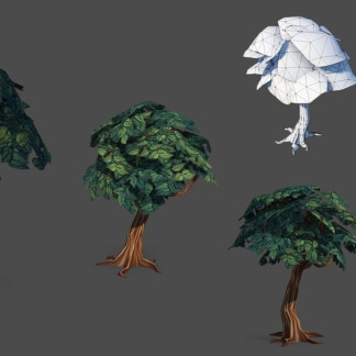 cartoon tree low poly textured