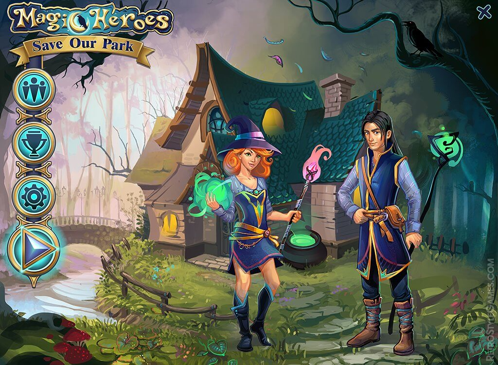characters 2d magic heroes match 3 game main menu