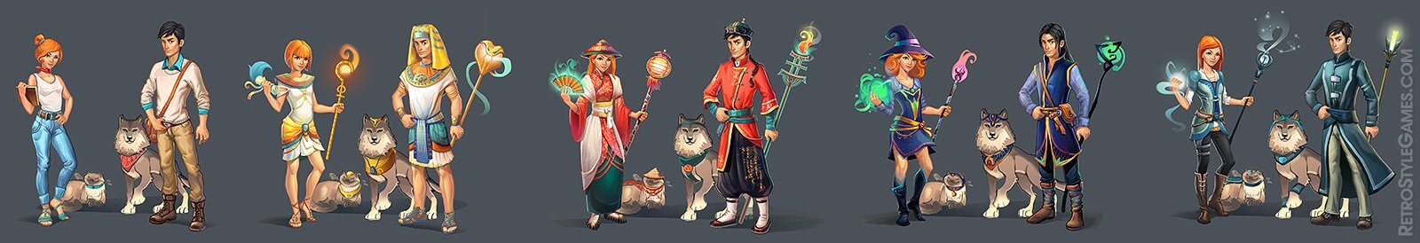 characters 2d magic heroes match 3 game