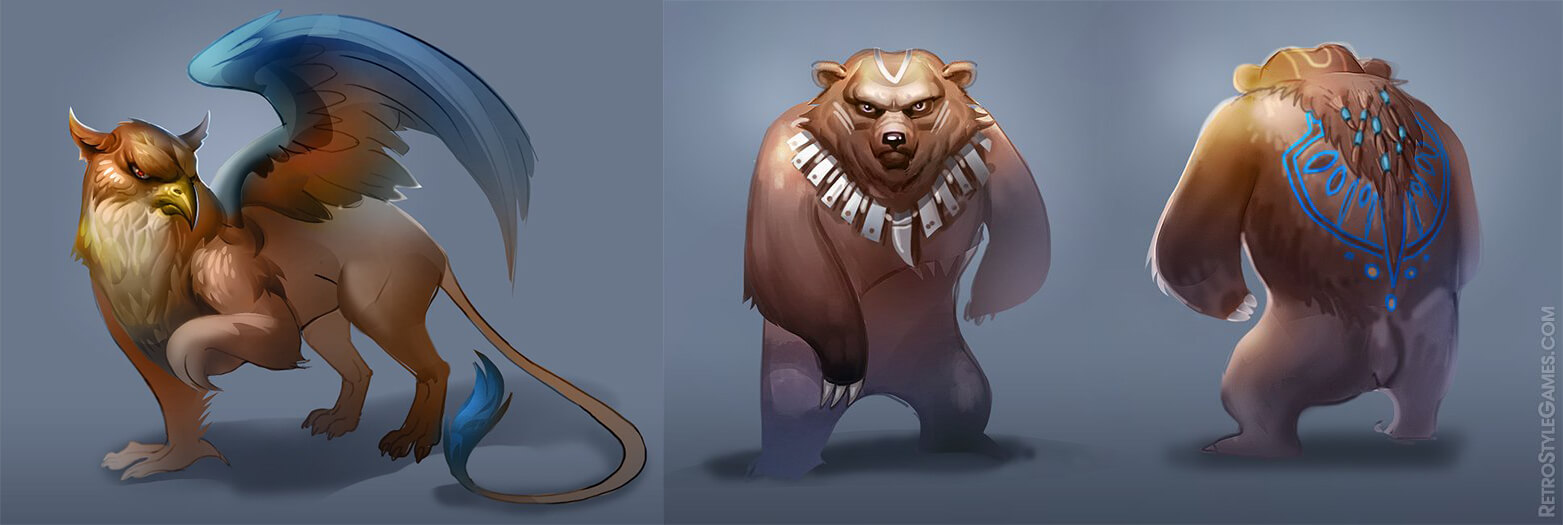 characters 3d runner bear griffin concept