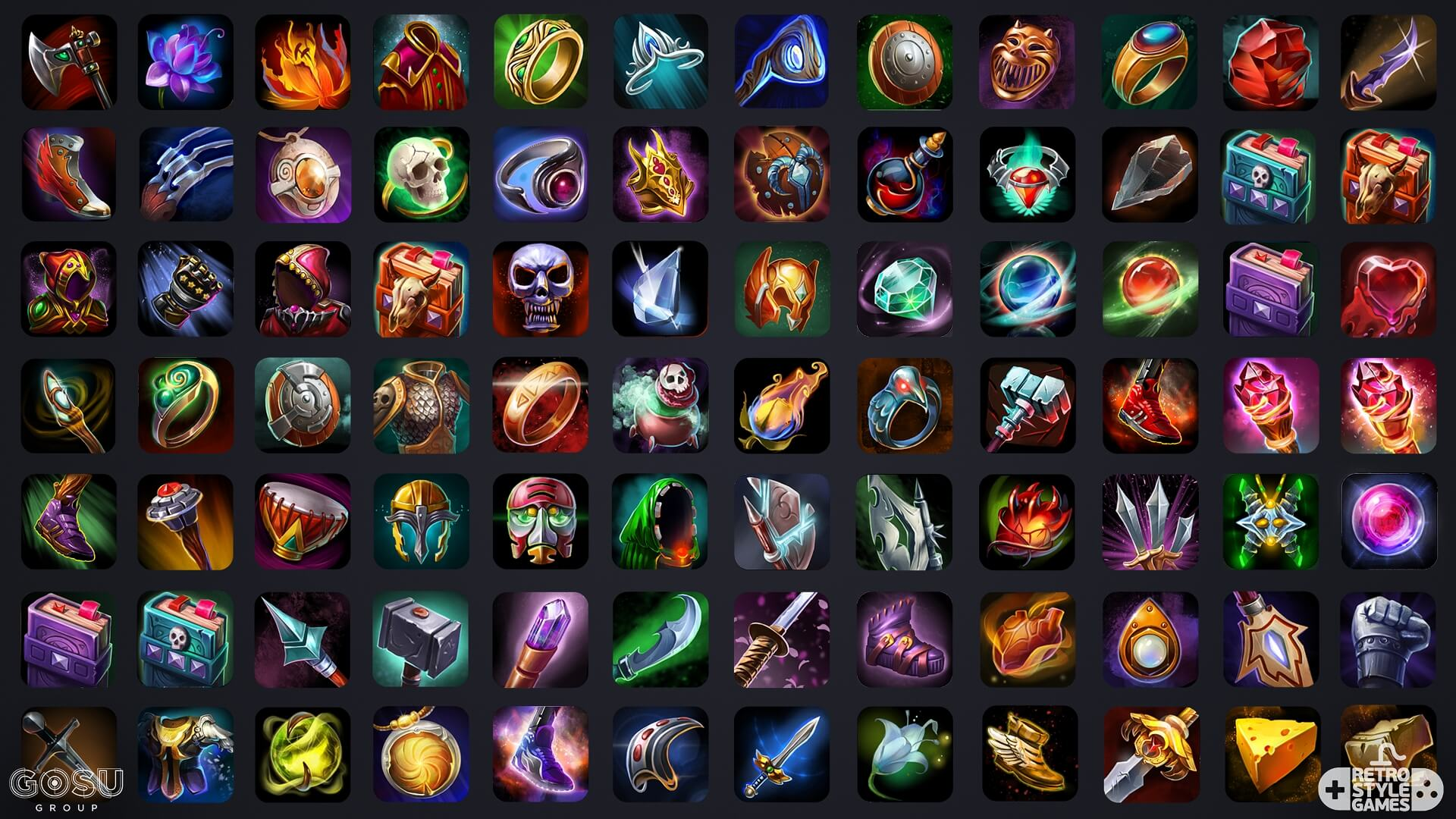 heroes titans 2d fantasy weapon harnesses power icons pack