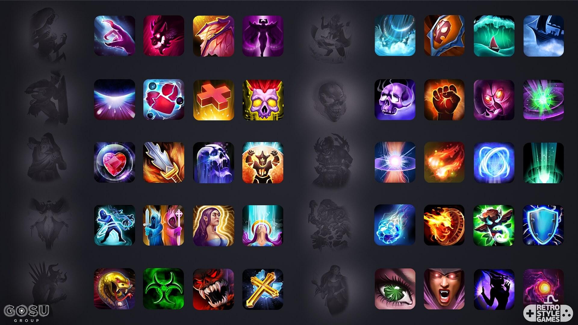 heroes titans 2D spiritual fx element spell sheet icons set