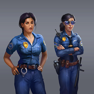 framed character concepts poses woman policeman