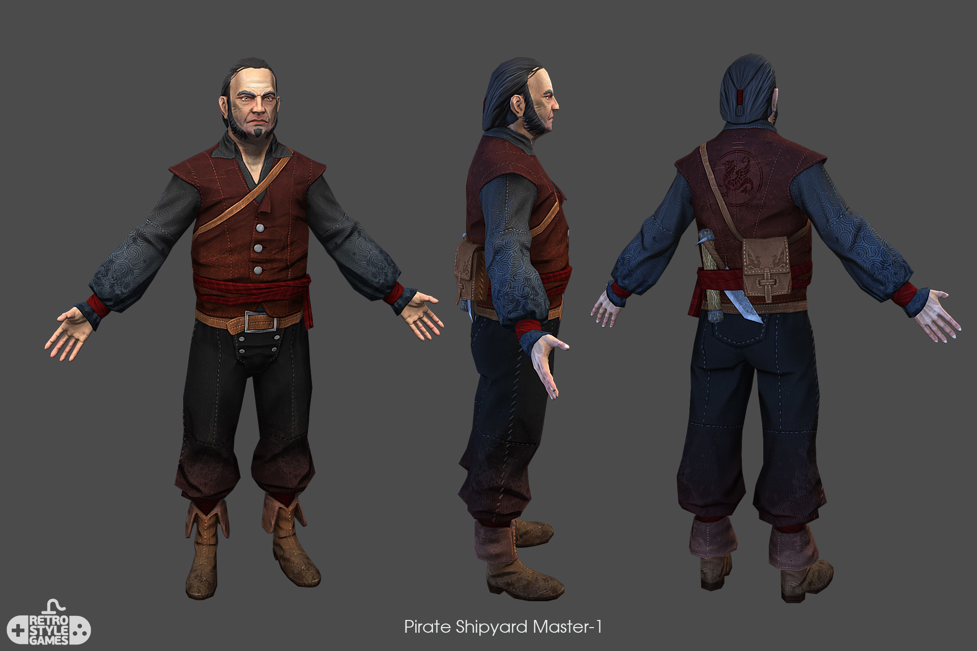Low Poly Characters Real Time Pirate Shipyard Master 1