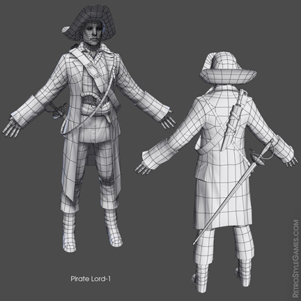 Low Poly Pirate Characters 3d Real Time sheet 01