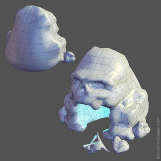 low-poly grid pirate island cave skull human skeleton weapons chest