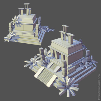 low-poly grid pirate island pyramid settlement sacrificial stone
