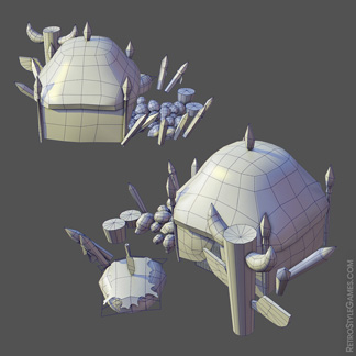 low-poly grid pirate island pyramid settlement stone