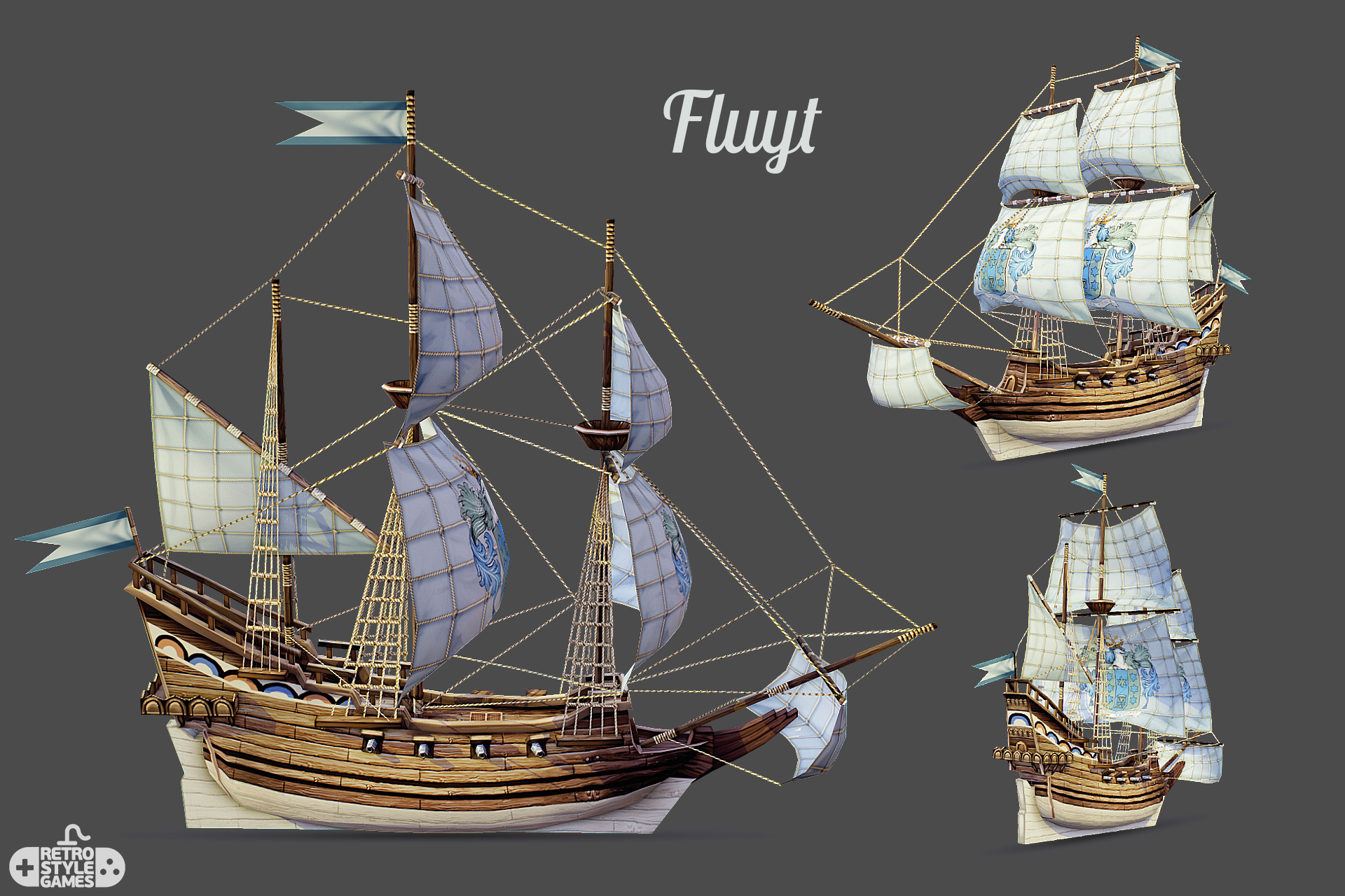 3d low poly pirate ship FLUYT