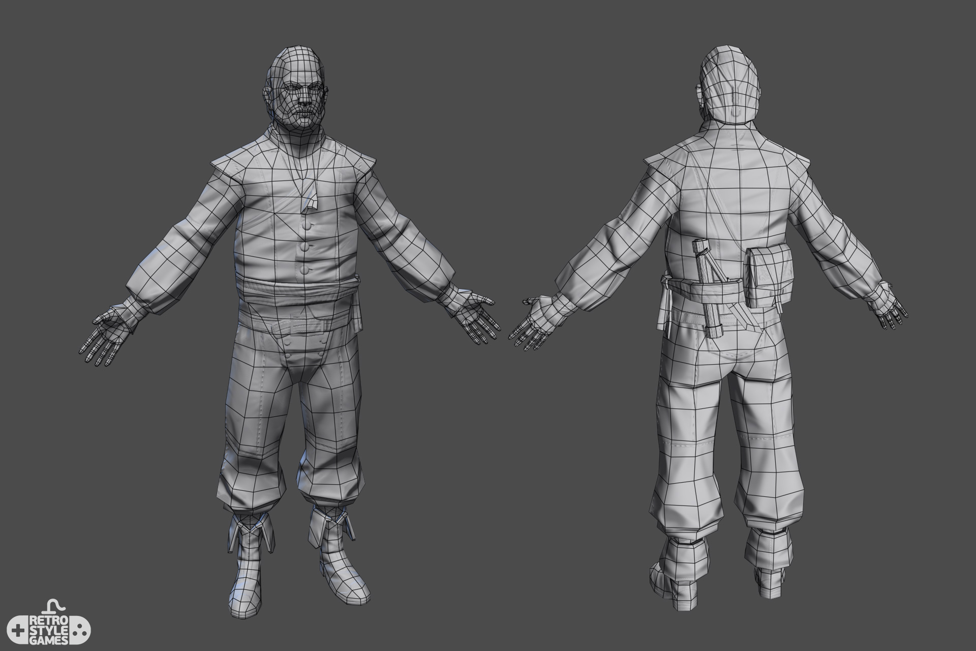 Low Poly Characters Real Time Pirate Shipyard Master 1 grid