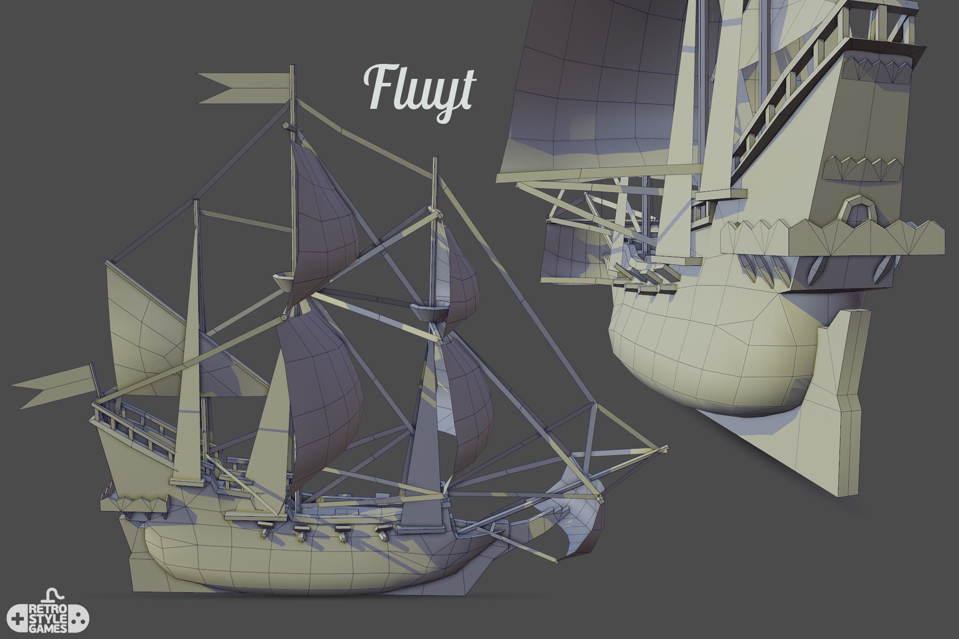 low poly pirate ship FLUYT grid