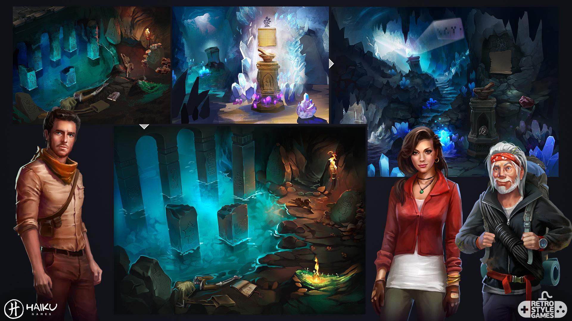 Hidden Ruins Adventure Escape full art sheet 3 backgrounds
