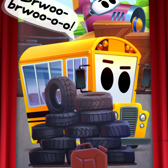 Kids theater cars school bus 1242x2208