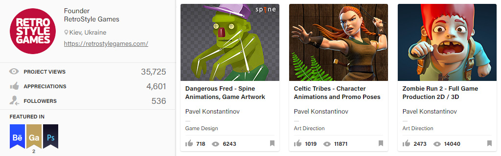 Behance Art Outsourcing 2D and 3D portfolio