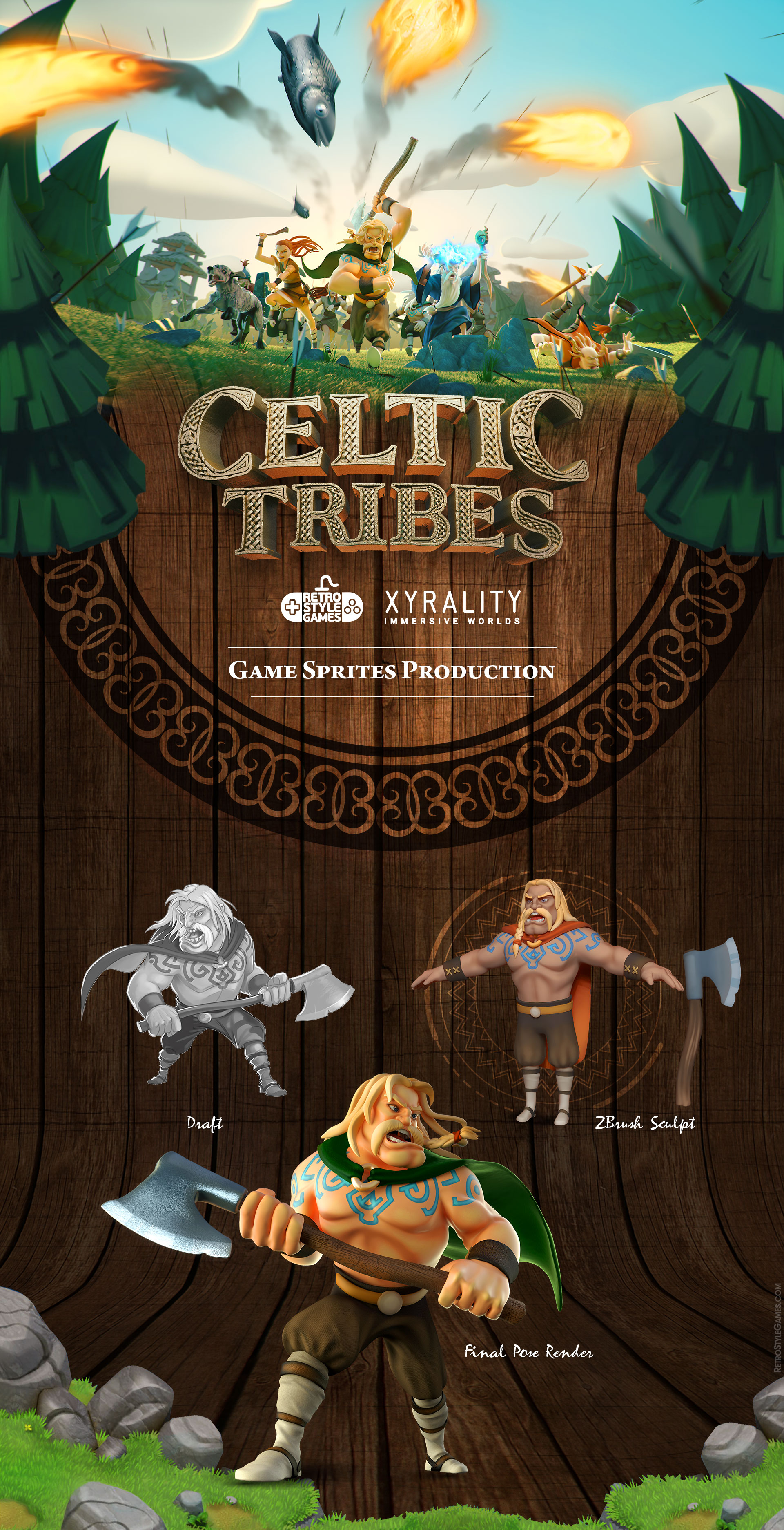 Celtic Tribes game sprite characters promo poses 1920 001