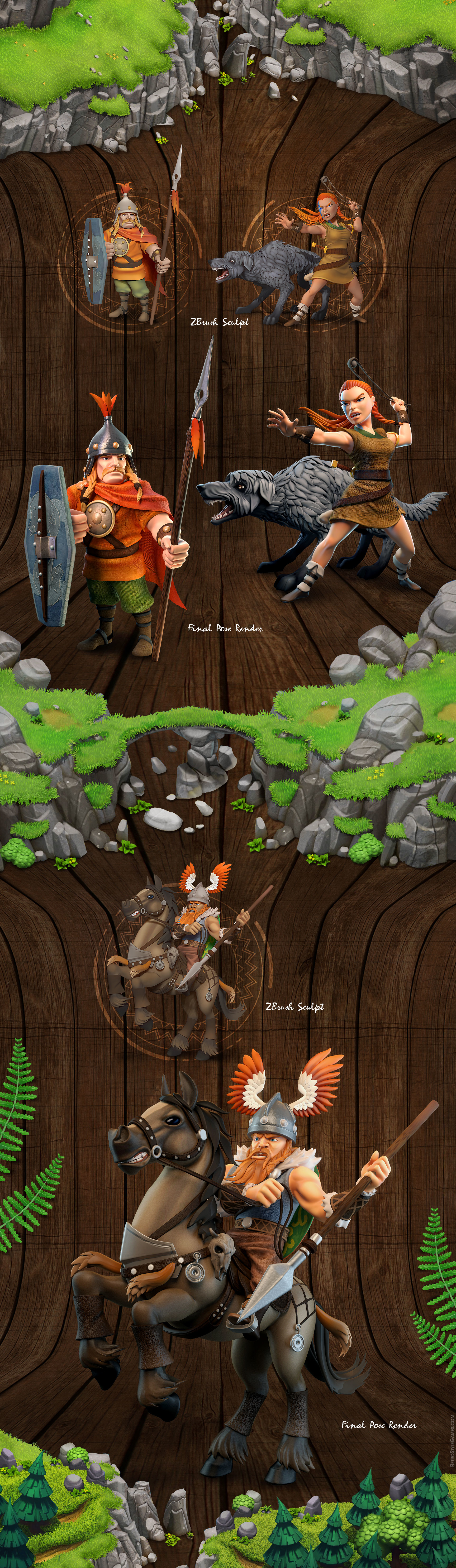 Celtic Tribes game sprite characters promo poses 1920 003