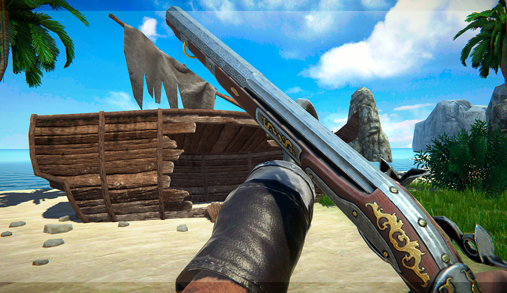 Pirate Survival mobile game - shotgun 3D model