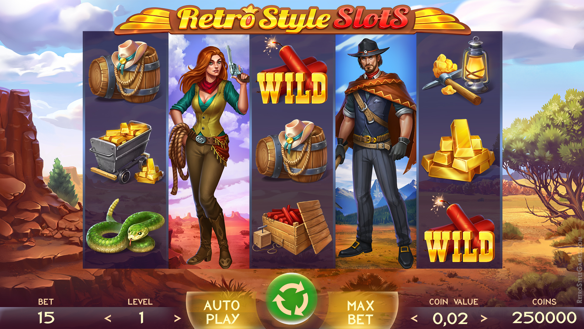 Cowboy Slot Machine Icons, Spine 2D Animation - Free Download