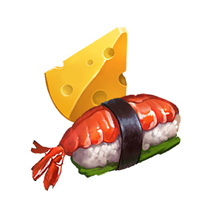 2D Food Game Icons Fruit Chesse Fish