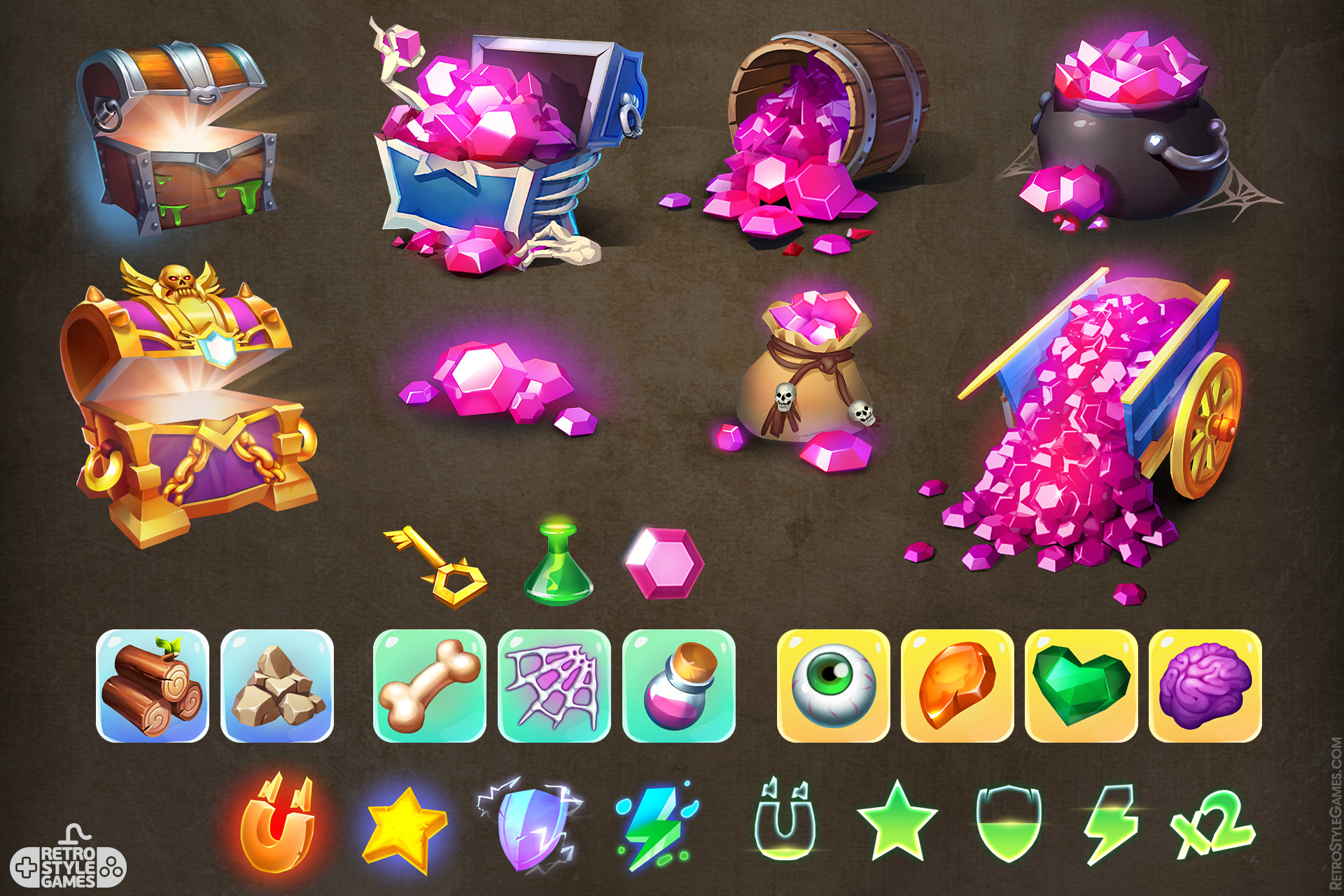 Game IAPs Icon Set Chest Gems Boost