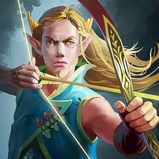 Icon Fantasy Character Illustration High Elf Set Archer