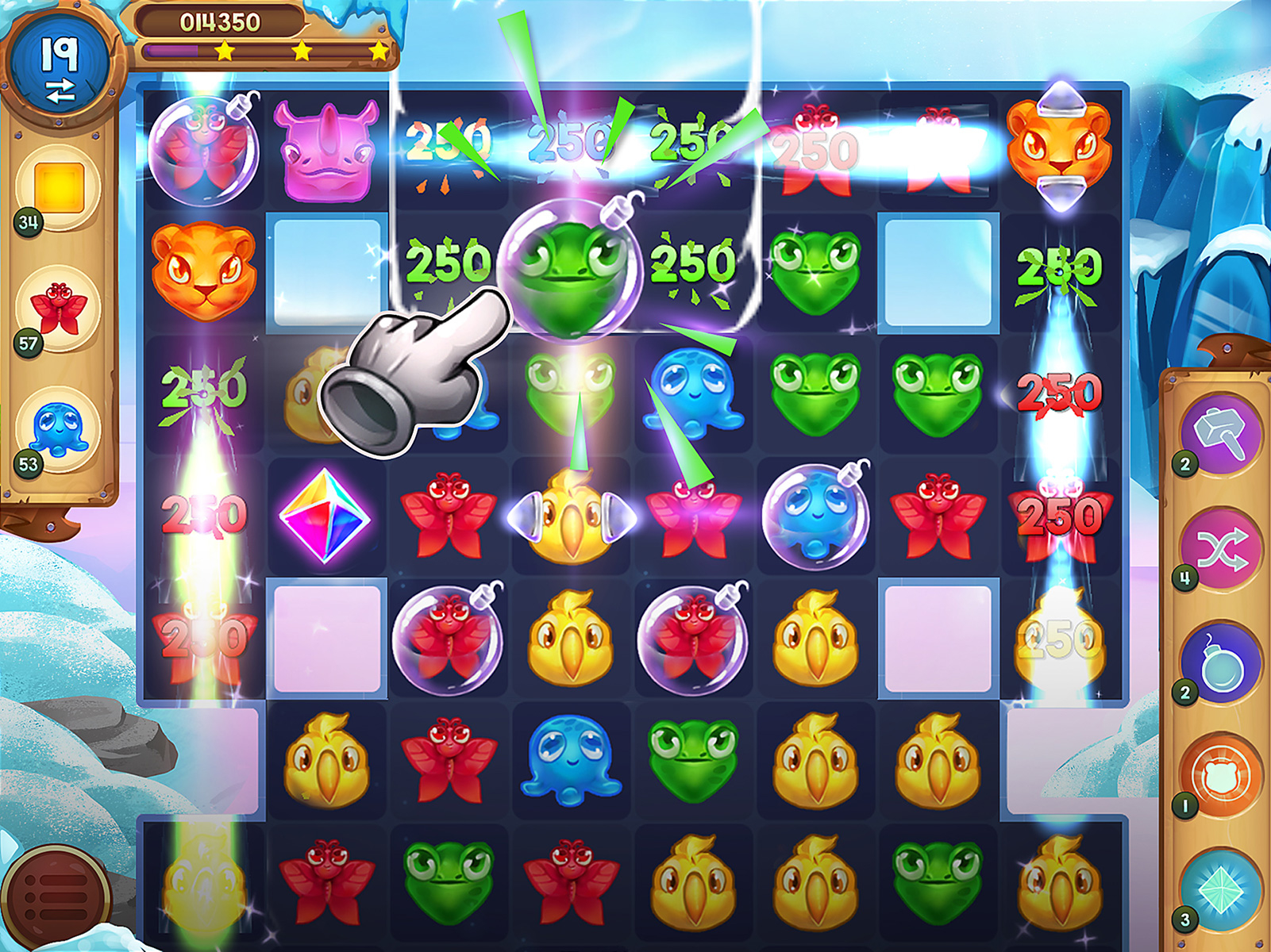 Match-3 Stylized Game Icon Animal Drop Blast GUI